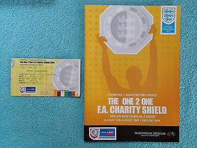 2001 - CHARITY SHIELD PROGRAMME + MATCH TICKET - LIVERPOOL v MANCHESTER UNITED