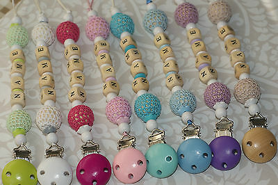 Personalised Wooden Dummy Clip Chain Pacifier Baby Gift Shower Mam Adapter FREE