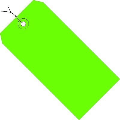"""Tape Logic TLG11043D Shipping Tags, Pre-Wired, 13 Point, 4 1/4"""" x 2 1/8"""", Green"""