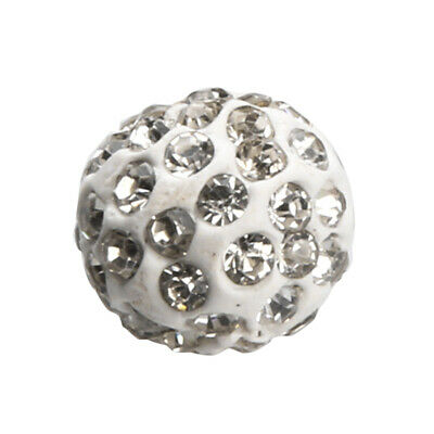 100pcs Silver Round Clay Crystal Ball Beads for Jewelry Making Crafts 10mm