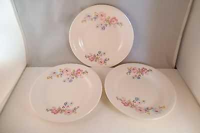 Vintage Edwin Knowles Semi Vitreous China Set of 3 Bread Plates Pink Flowers