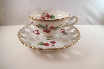 Vintage Lefton China Japan Pierced Cup & Saucer Pink Flowers