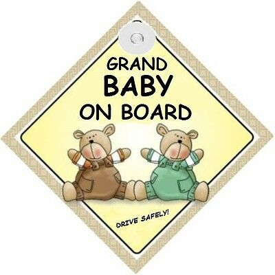 GRAND BABY ON BOARD! - Two Bears  MADE IN AUSTRALIA - with Suction Cup FREE POST