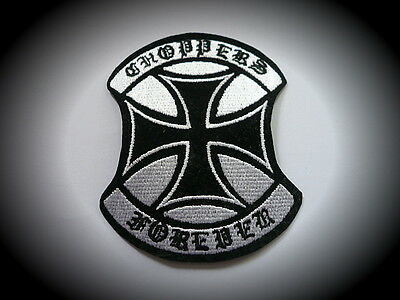 Chopper Forever,Iron Cross,Patch,Skull,Badge,Biker,Kutte,Aufbügler,Eiserne Kreuz