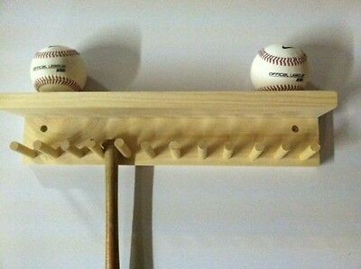 Baseball Bat Rack and Ball Holder Display Natural Finish Meant to Hold up to 11