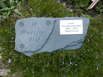 Personalised Pet Cat Memorial Stone Marker - A Purrfect Pet with plaque