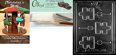 """Cybrtrayd """"Puzzle Autism Lolly"""" Chocolate Mould with Chocolatier's Bundle,"""