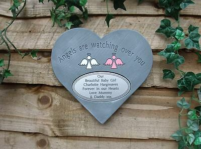 Personalised Angel Memorial Heart with Oval Plaque Garden /Cemetery Stone Marker
