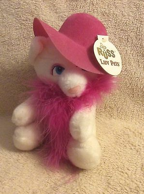 "Vintage Russ Berrie 6"" White Cat Margaux Plush Stuffed Animal"