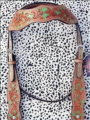 New Hilason Western Leather Hand Tooled Horse Bridle Headstall Light Oil W/ Gree