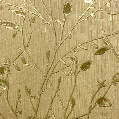 Vintage Gold Tree Wallpaper Italian Heavyweight Vinyl Metallic Textured Arthouse