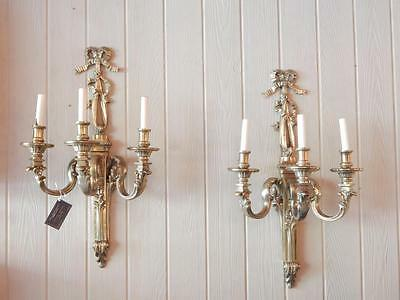 Large & Impressive Pair of Louis XVI Bronze Sconces