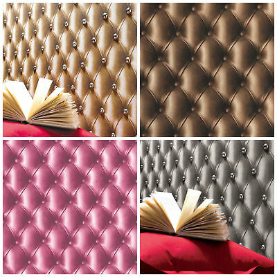 3D Leather Effect Cushioned Headboard Wallpaper Chesterfield Vinyl 4 Colours