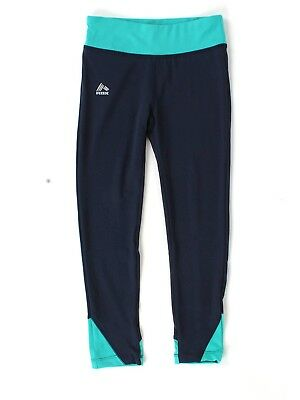 (6/7, Navy / Teal Combo) - RBX Active Girl's Colour Block Performance Leggings.