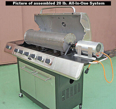 US Made 20 Lb Capacity Outdoor Coffee Roaster System Drum-rod-grill-60rpm Motor