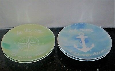 222 Fifth Guide Me Nautical Appetizer  Canape Snack  Plates S/4 NEW