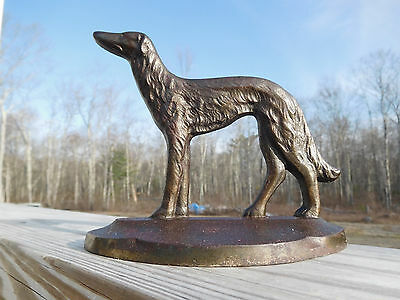 1929 Art Deco Russian Wolfhound Borzoi Conn. Foundry Cast Iron Doorstop Bookend