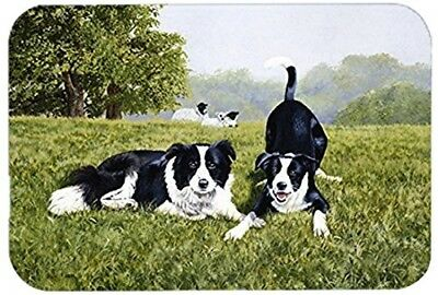Caroline's Treasures Let's Play Border Collie Glass Cutting Board, Large,