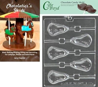 Cybrtrayd Large Lacrosse Lolly Chocolate Candy Mould with Chocolatier's Guide