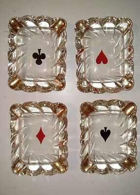 Set of 4 Vintage Poker Card Set Ashtrays ClubsSpadesHeartsDiamonds Ashtray Gold