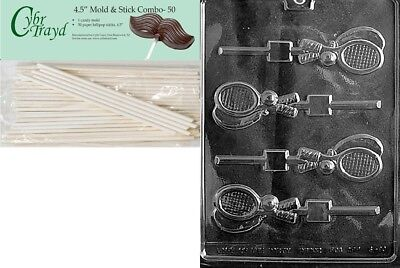 Cybrtrayd 45St50-S080 Tennis Racquet Lolly Sports Chocolate Candy Mould with