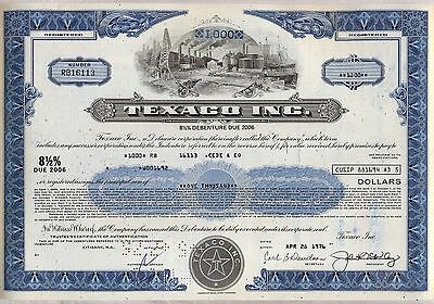 Texaco Inc. Bond Stock Certificate Oil Gas