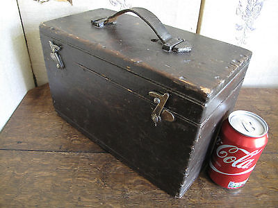 Vintage Industrial Box  Wooden Case with carrying handle  TOOL BOX
