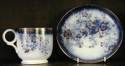 Antique flow blue polychrome giant cup and saucer (Cleveland) C1880