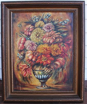 Antique/Early Vintage Oil On Board Painting - Framed Florals in Bowl