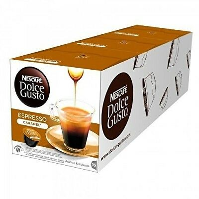 Nescafe DOLCE GUSTO Pods Coffee Capsules - ESPRESSO CARAMEL - 16 Pods (Pack X 3)