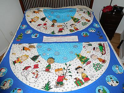 Peanuts Charlie Brown Christmas Tree Skirt Fabric Uncut 68 X 56 Snoopy Lucy