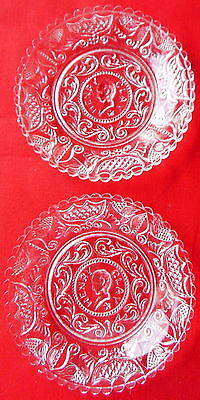 Boston & Sandwich Clear Glass Cup Plate Henry Clay Lot of 2