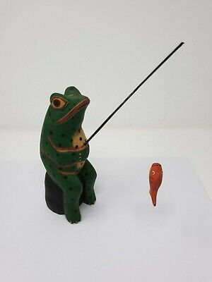 Indonesian / Balinese Handcrafted Wooden Sitting Fishing Frog