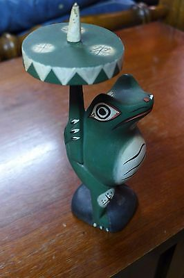 Indonesian / Balinese Handcrafted Wooden Frog with Umbrella
