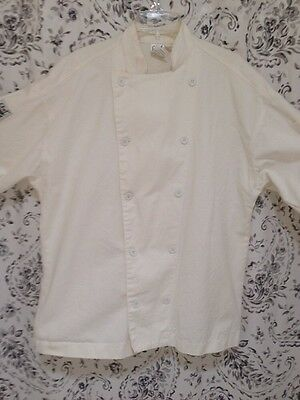 CHEF REVIVAL Chef Coat 100% Cotton White Button Front Unisex Sz XL Long Sleeve