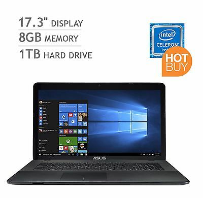 Asus 17.3 Inch Notebook Laptop Intel 8GB RAM 1TB HDD DVD Win 10 Brand New