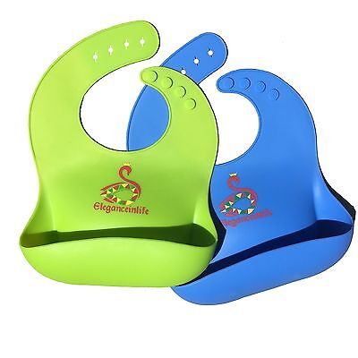 Baby Bibs Waterproof Silicone Soft THE BEST Baby Bibs,Easily Wipes Clean,Comf...