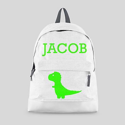 Personalised Kids Backpack - Any Name Dinosaur Rex Boys Back To School Bag #CBPD