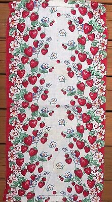 "Vtg Linen Printed Dish/Hand TOWEL Strawberries Used 32"" X 16"""