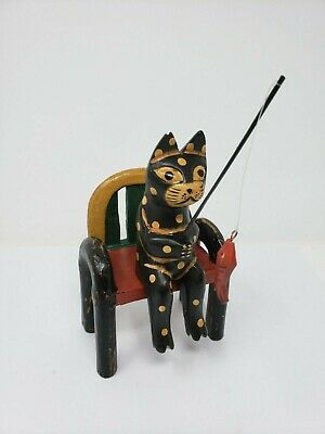 Indonesian / Balinese Handcrafted Wooden Black Cat Sitting on a Bench Fishing