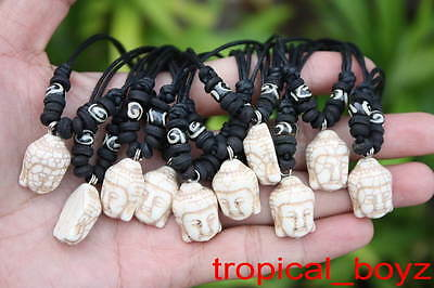 10 Handmade Artificial Stone WHITE Buddha with Bone Beads Necklaces Wholesale *
