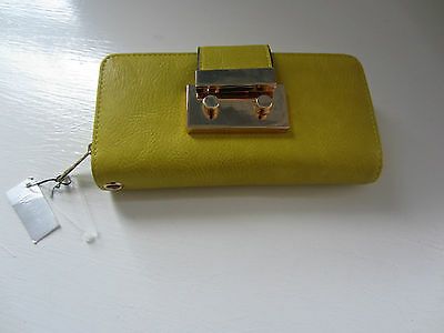Madeline Nwt Yellow Leather  Zip Around Wallet Wristlet Perfect New