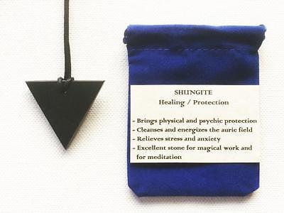 Shungite Pendant Polished Inverted Triangle Necklace, Adjustable Cord, Pouch