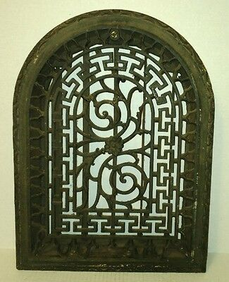 vtg antique Ornate Cast Iron Arch Top Dome Heat Wall Grate w/ Louver VICTORIAN