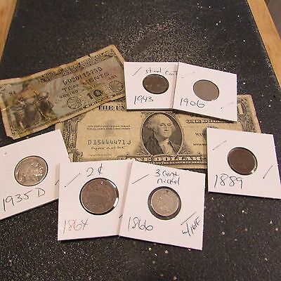 Collection Of Old Us Coins And Currency   Set 17