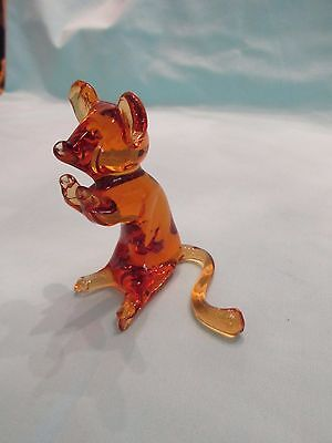 Vtg Handmade Art Glass Amber Mouse Figure Paperweight Excellent Cond! Pilgrim?