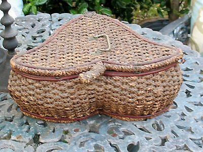 RARE UNIQUE Antique Woven Splint VICTORIAN SEWING BASKET w/ Handle Latch Tufted