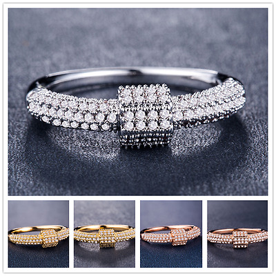 Elegant 925 Silver,gold,rose Gold Fashion Jewelry White Sapphire Ring Size 6-10
