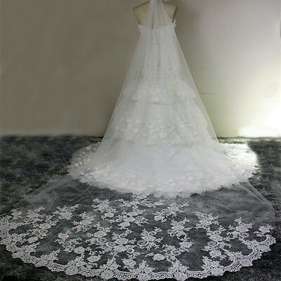 1pc White Cathedral Length Lace Edge Bride Wedding Bridal Veil long 3m US