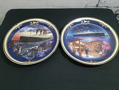 Titanic Queen of the Ocean 2 Collectors Plates Maiden Voyage & Grand Staircase